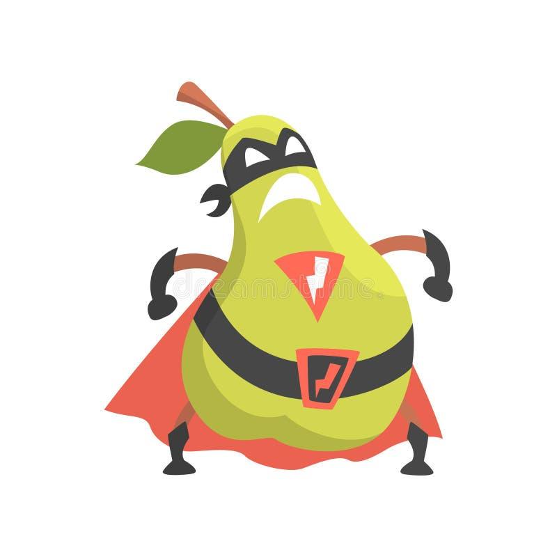 Pera vestida como super héroe con el cabo y máscara, parte de verduras en series de los disfraces de la fantasía de caracteres to libre illustration