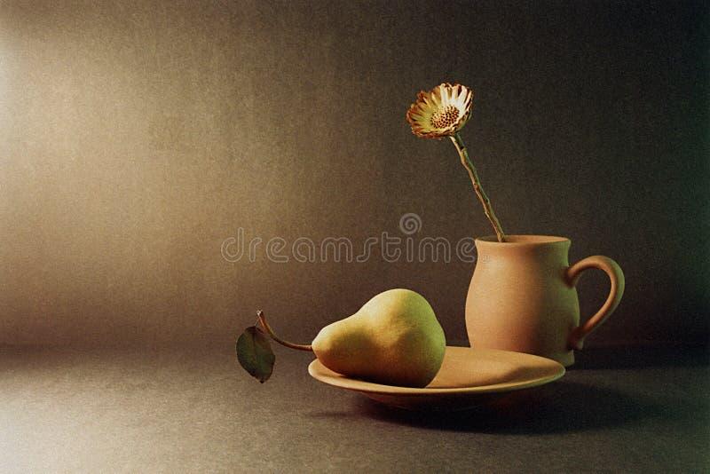 Pera y flor imagen de archivo libre de regalías