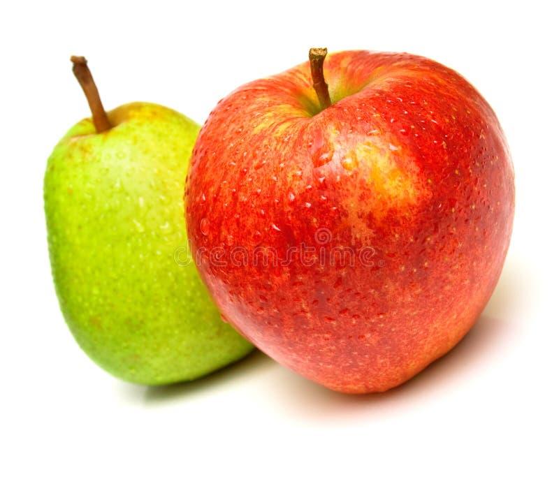 Pera y manzana imagen de archivo