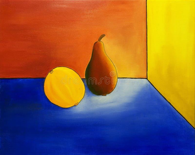 Pera y naranja stock de ilustración