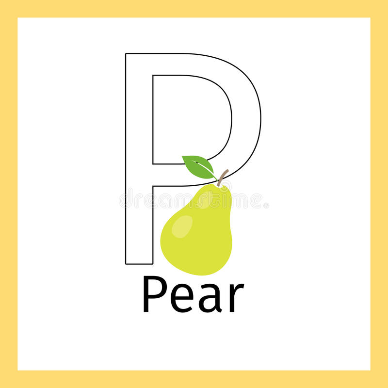 Pera Y Página Del Colorante De La Letra P Ilustración del Vector ...