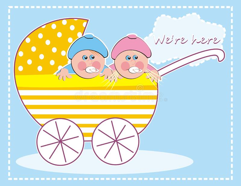 Perambulator with baby girl and baby boy, twins, creative vector illustration vector illustration