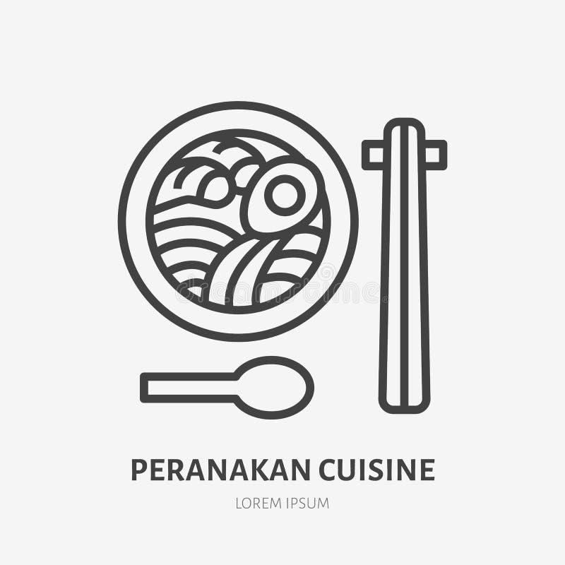 Peranakan烹调平的线象 汤面用食物棍子,亚洲咖啡馆商标的传染媒介稀薄的标志 日本午餐 向量例证
