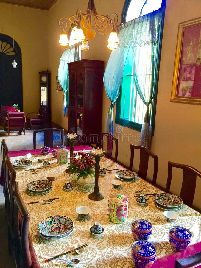 Peranakan house. Peranakan dining table of Tjong a fie mansion in Medan, Indonesia stock images