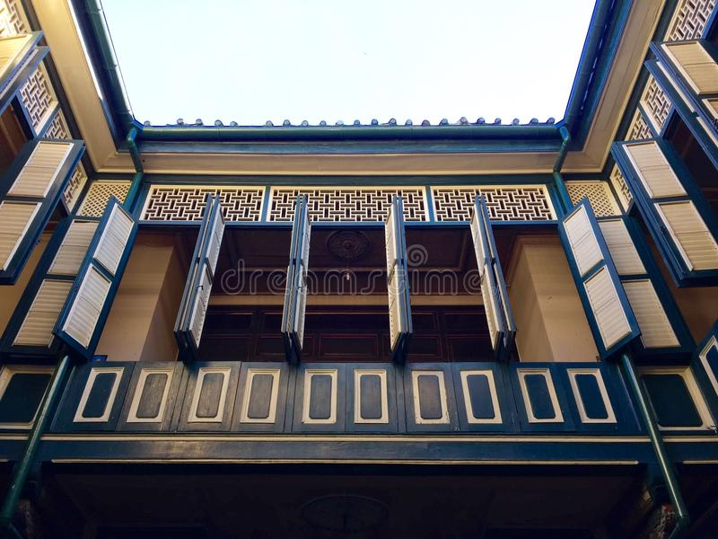 Peranakan house. Open windows Peranakan houses of Tjong a fie mansion in Medan, Indonesia royalty free stock images