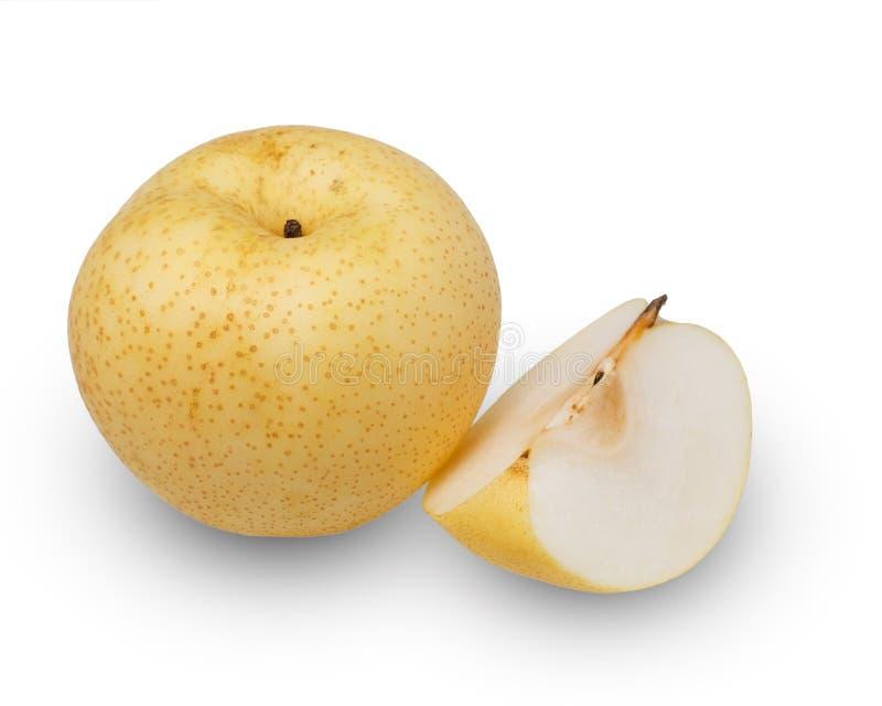 Peras - peras asiáticas isoladas no fundo branco fotografia de stock
