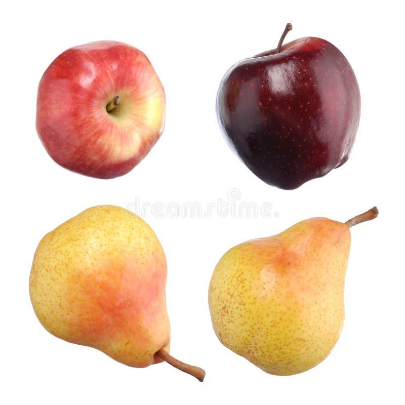 Peras do snd das maçãs isoladas no branco fotos de stock royalty free