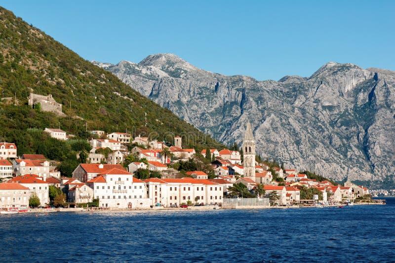 Perast, baia di Cattaro, Montenegro fotografia stock libera da diritti