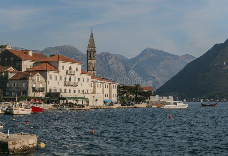 Perast - eine alte Stadt in Montenegro stockfoto