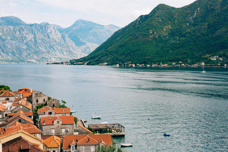 Perast view from the tower. Photos from the height, from the cha royalty free stock images