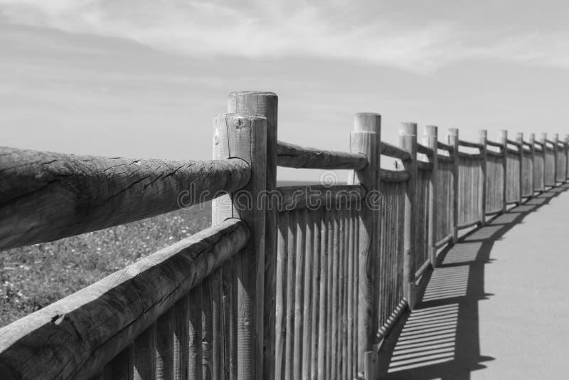 Perca acima na cerca de madeira na passagem na costa atlântica em preto e branco, Saint brim de luz, país basque, france fotografia de stock