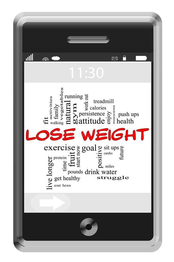 Perca o conceito do peso no telefone do écran sensível ilustração do vetor