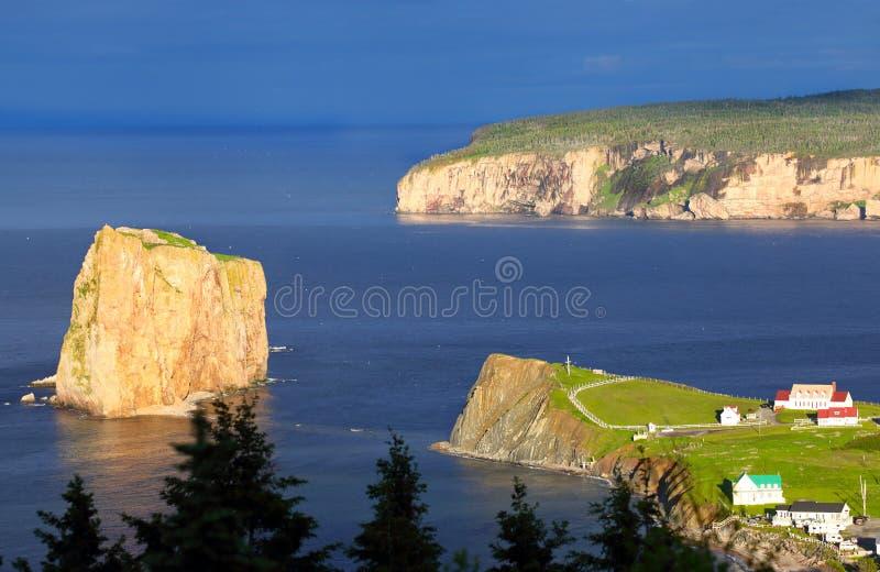 Perce Rock and Bonaventure Island - Quebec, Canada. In beautiful Evening Light royalty free stock image