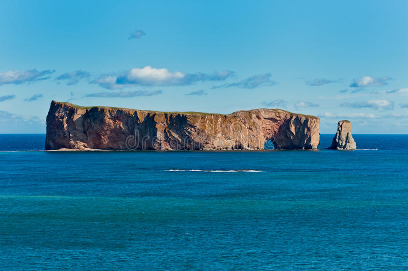 Perce Rock, famous place in Gaspe. Quebec, Canada royalty free stock photos