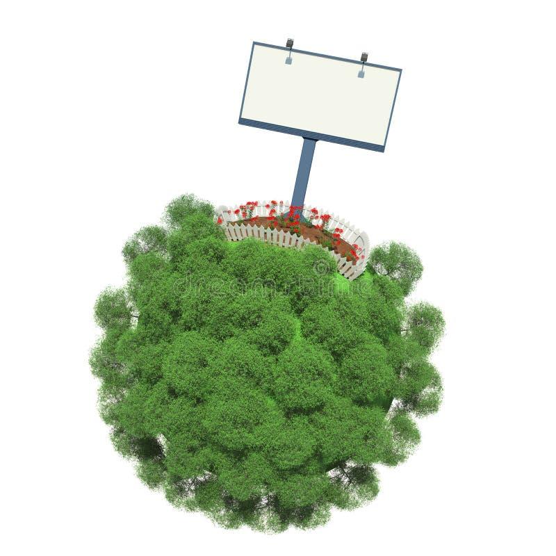 Perceel van land met bloemen op kleine groene planeet vector illustratie