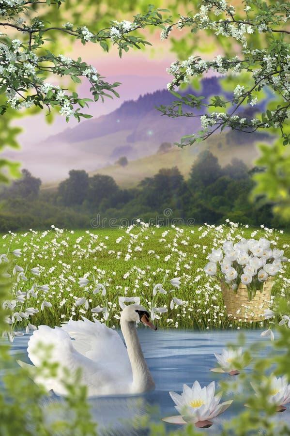 Perceel voor foto, aard, meer met zwaan, achtergrond voor kader, landschap royalty-vrije illustratie