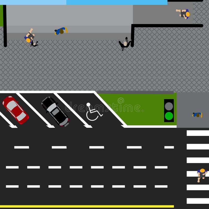 Perceelweg, weg, straat, met de opslag Met een verscheidenheid van auto's in het parkeerterrein De kruising en het parkeren royalty-vrije illustratie