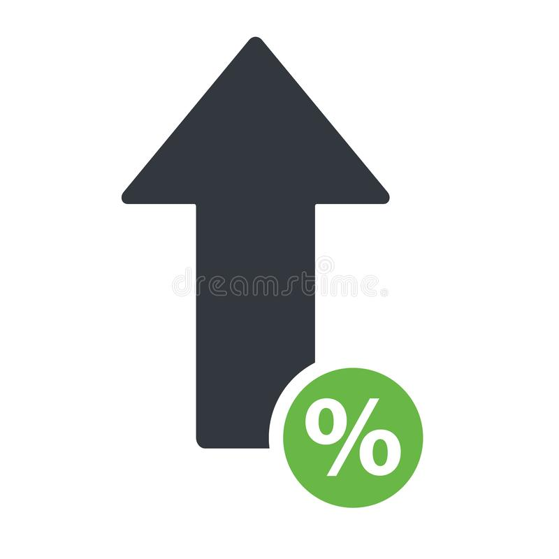 Percent arrow up line icon. Increase banking, finance, profit concept.  royalty free illustration
