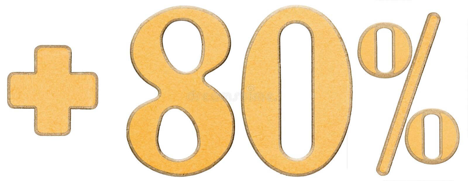 Download Percent Benefits, Plus 80 Eighty Percent, Numerals Isolated On W Stock Photo - Image: 83713504