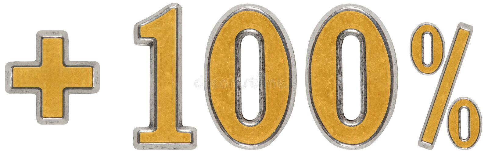 Download Percent Benefits, Plus 100 One Hundred Percent, Numerals Isolate Stock Photo - Image: 83711377