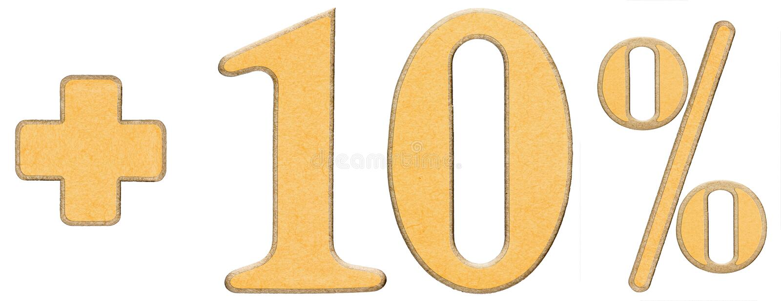 Download Percent Benefits, Plus 10 Ten Percent, Numerals Isolated On Whit Stock Photo - Image: 83713196