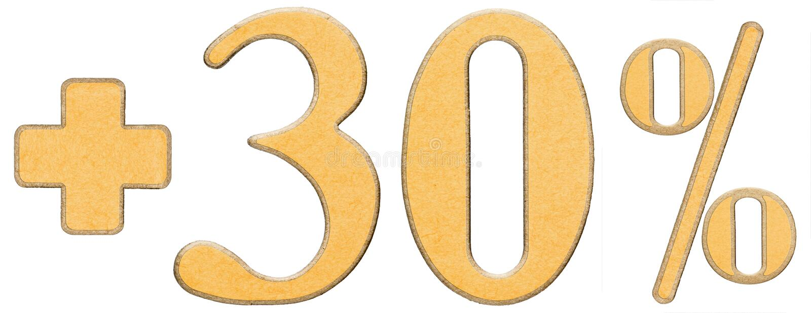 Download Percent Benefits, Plus 30 Thirty Percent, Numerals Isolated On W Stock Image - Image: 83713457