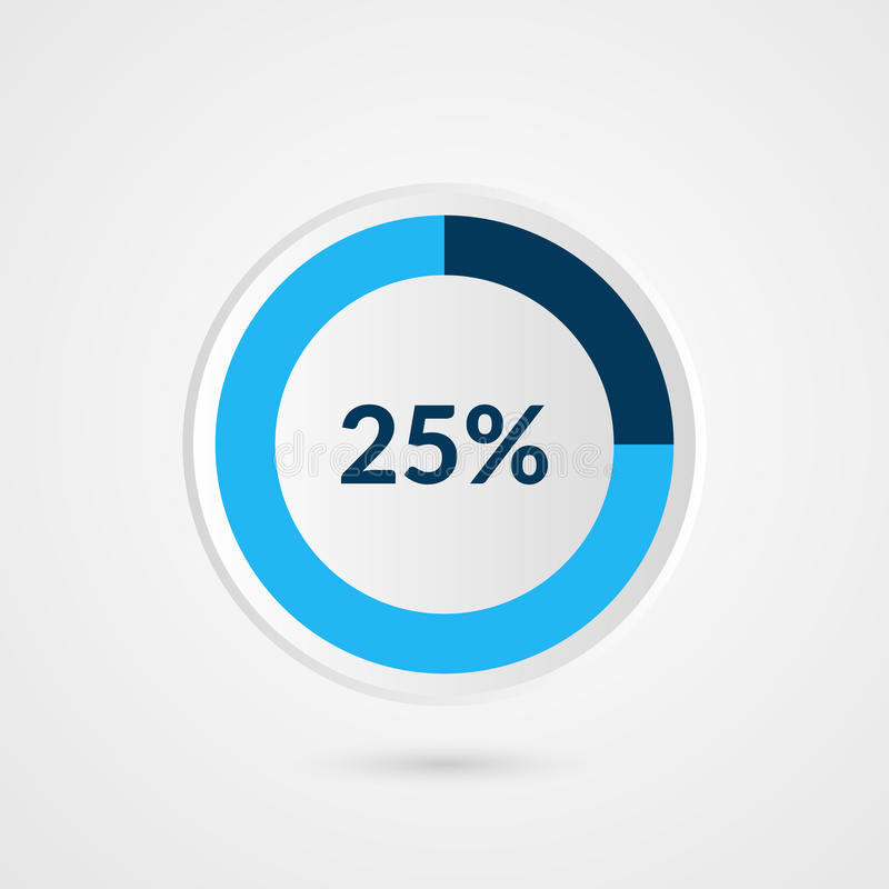 25 percent blue grey and white pie chart. Percentage vector infographics. Circle diagram business illustration stock illustration