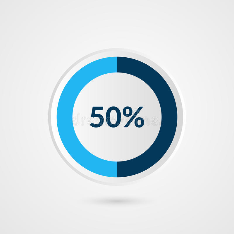 50 percent blue grey and white pie chart. Percentage vector infographics. Circle diagram business illustration. 50 percent pie chart. Percentage vector royalty free illustration