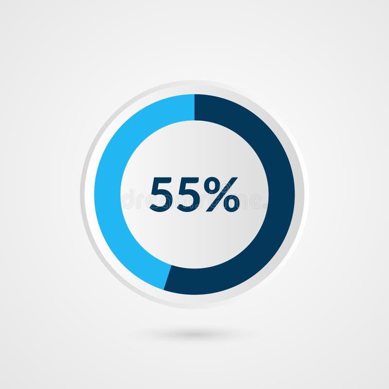 55 percent blue pie chart. Percentage vector infographics. Circle diagram business illustration stock illustration