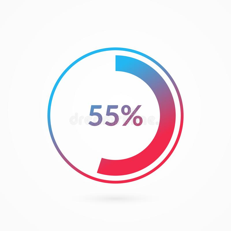 55 percent blue and red gradient pie chart sign. Percentage vector infographic symbol. Circle diagram isolated, illustration. For business, download, web icon stock illustration