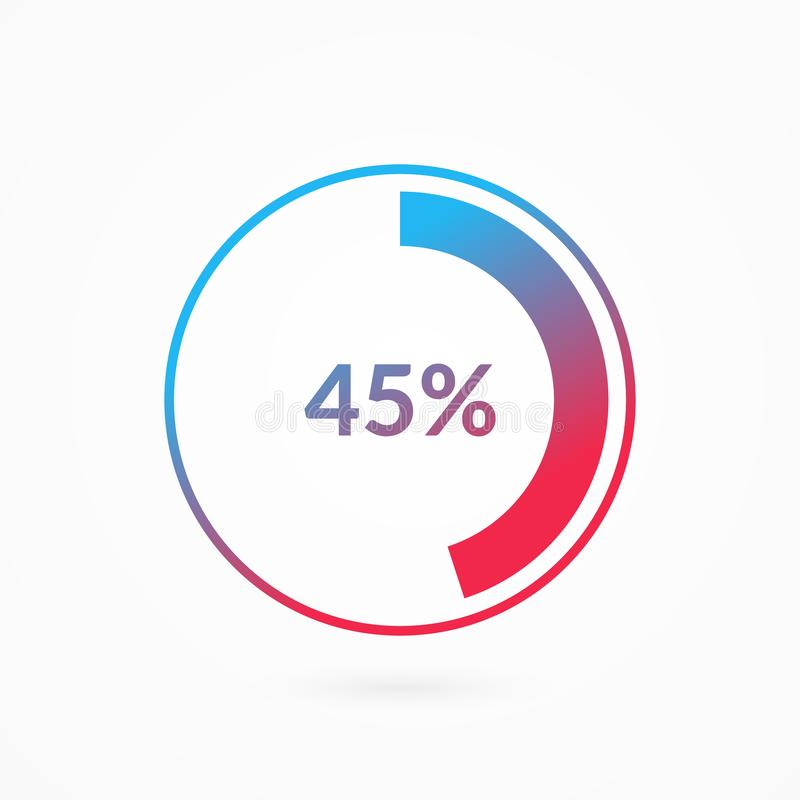 45 percent blue and red gradient pie chart sign. Percentage vector infographic symbol. Circle diagram isolated, illustration. For business, download, web icon vector illustration