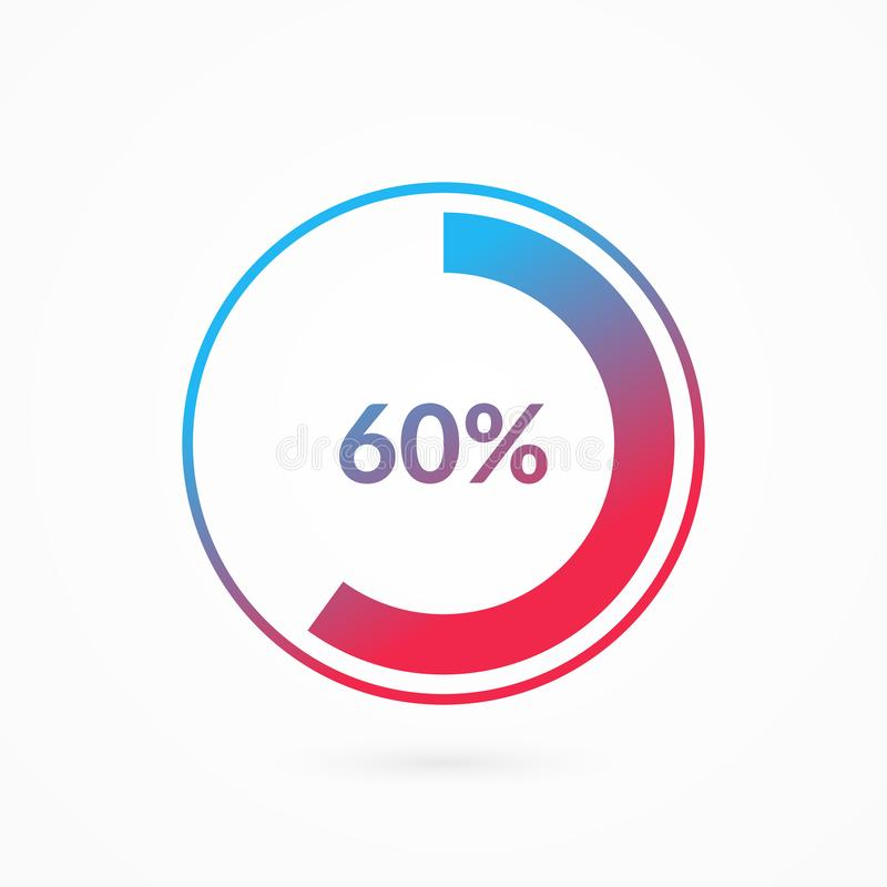 60 percent blue and red gradient pie chart sign. Percentage vector infographic symbol. Circle diagram isolated, icon. 60 percent blue and red gradient pie chart vector illustration