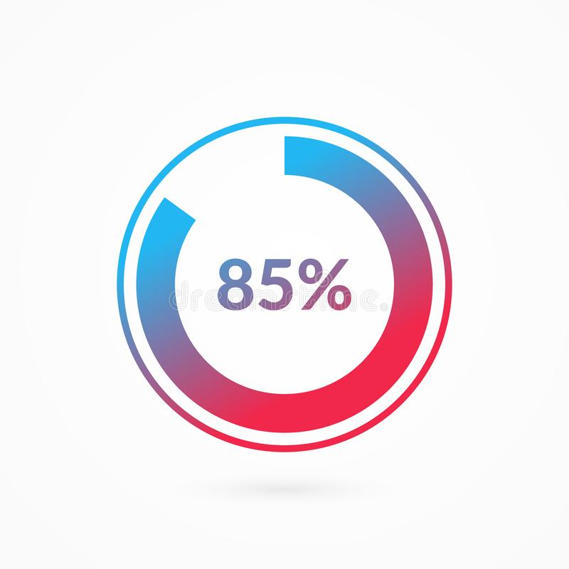 85 percent blue and red gradient pie chart sign. Percentage vector infographic symbol. Circle diagram isolated, illustration. For business, download, web icon vector illustration