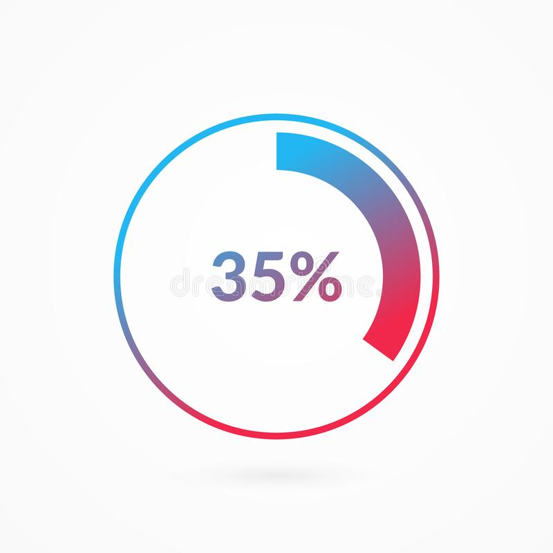 35 percent blue and red gradient pie chart sign. Percentage vector infographic symbol. Circle diagram isolated, illustration. For business, download, web icon stock illustration