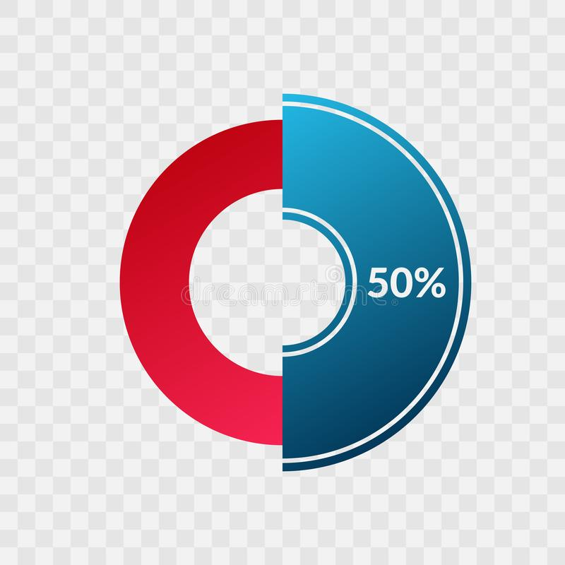 50 percent blue and red gradient pie chart sign. Percentage vector infographic symbol. Circle diagram isolated on transparent. Background, illustration for royalty free illustration