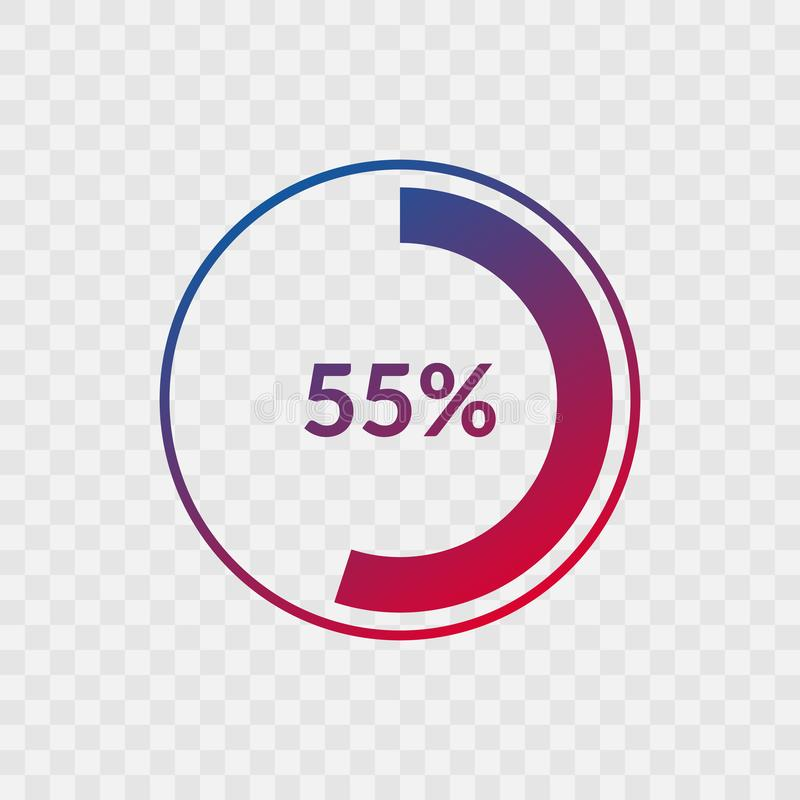 55 percent blue and red gradient pie chart sign. Percentage vector infographic symbol. Circle icon isolated on transparent. Background, illustration for stock illustration