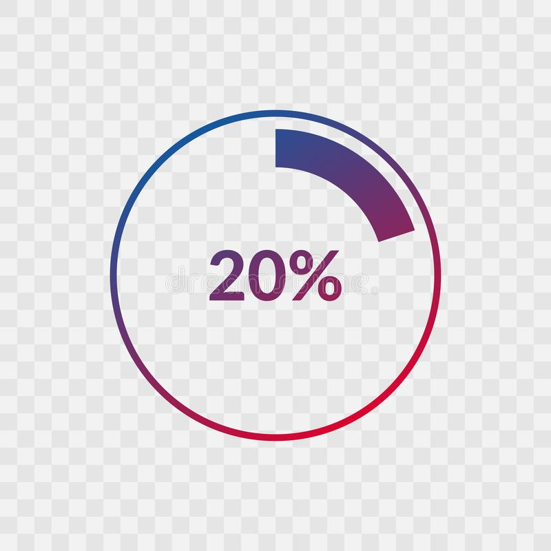 20 percent blue and red gradient pie chart sign. Percentage vector infographic symbol. Circle icon isolated on transparent. Background, illustration for royalty free illustration