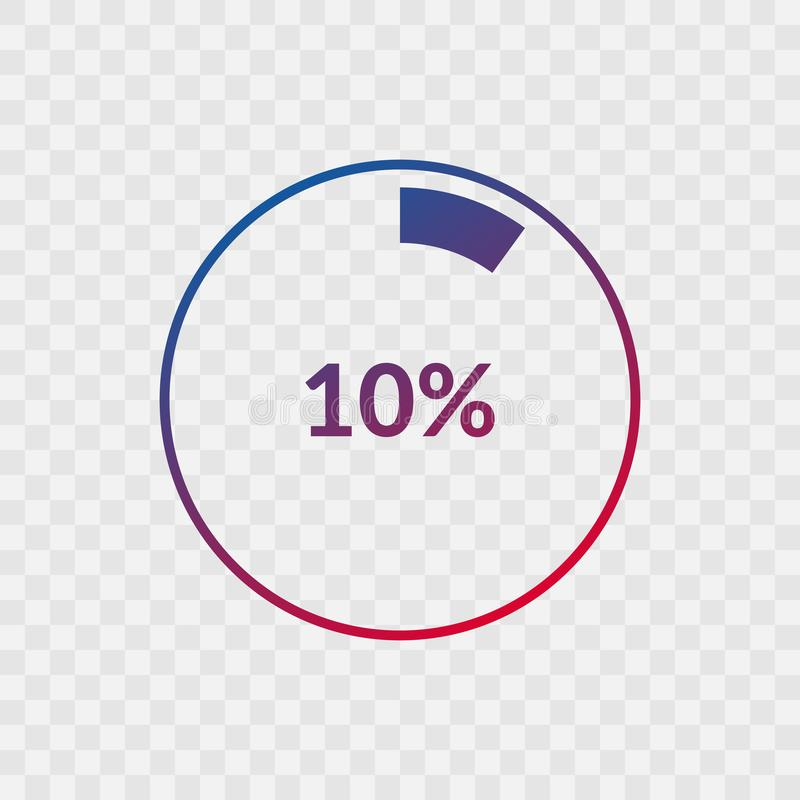 10 percent blue and red gradient pie chart sign. Percentage vector infographic symbol. Circle icon isolated on transparent. Background, illustration for stock illustration