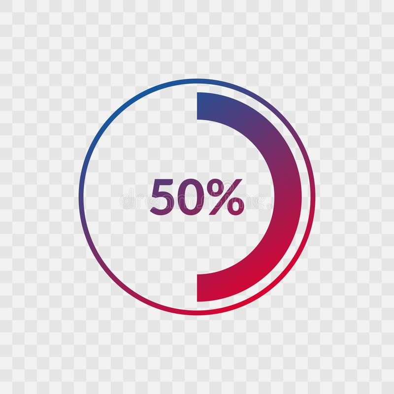 50 percent blue and red gradient pie chart sign. Percentage vector infographic symbol. Circle icon isolated on transparent. Background, illustration for vector illustration