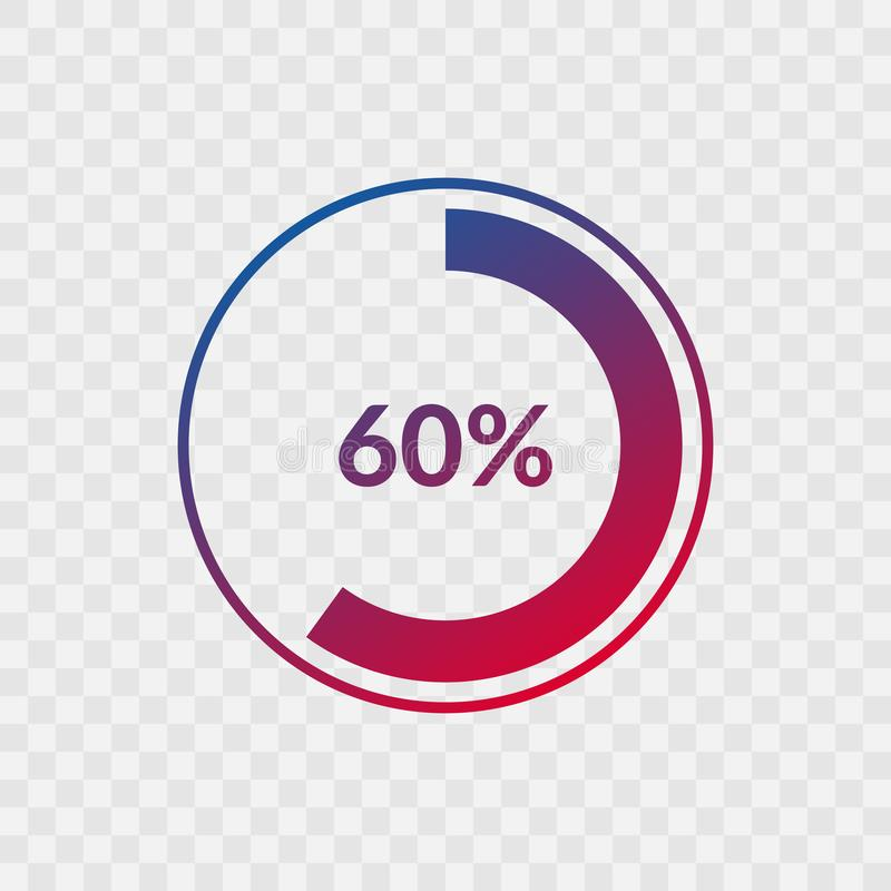 60 percent blue and red gradient pie chart sign. Percentage vector infographic symbol. Circle icon isolated on transparent. Background, illustration for stock illustration