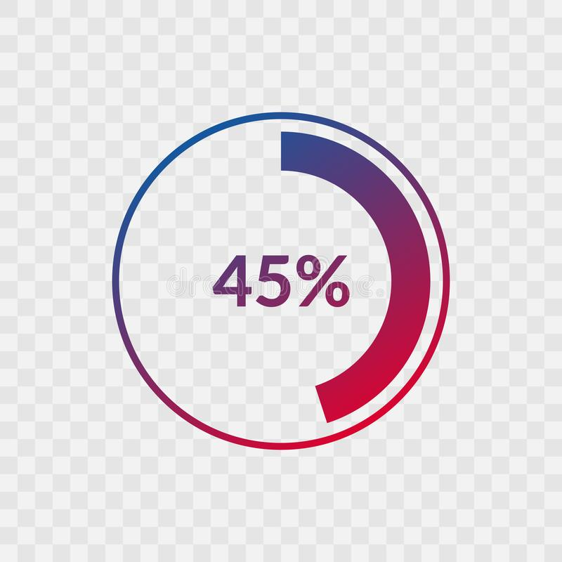 45 percent blue and red gradient pie chart sign. Percentage vector infographic symbol. Circle icon isolated on transparent. Background, illustration for royalty free illustration