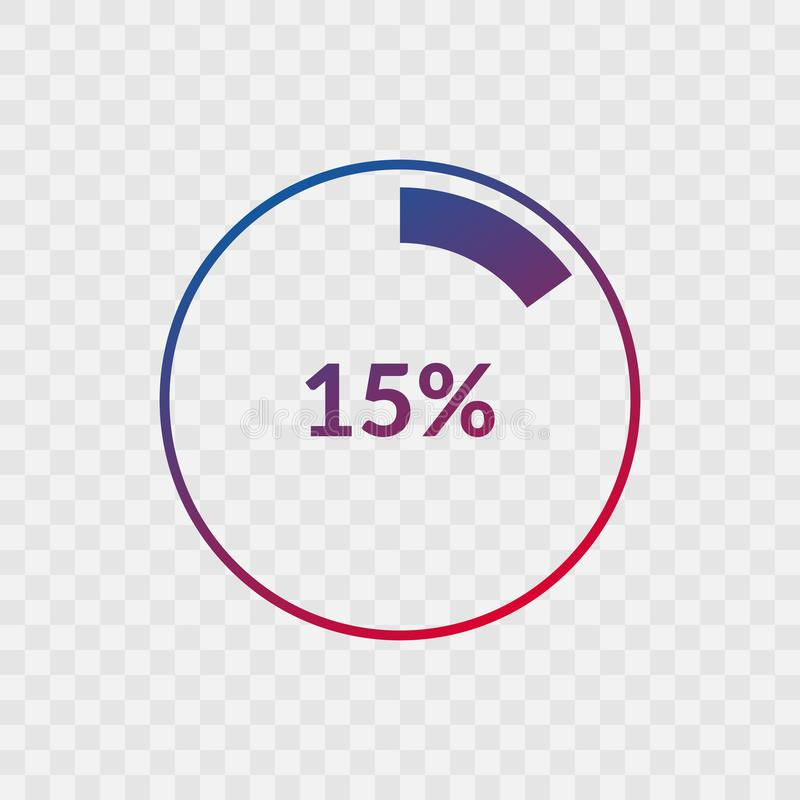 15 percent blue and red gradient pie chart sign. Percentage vector infographic symbol. Circle icon isolated on transparent. Background, illustration for vector illustration