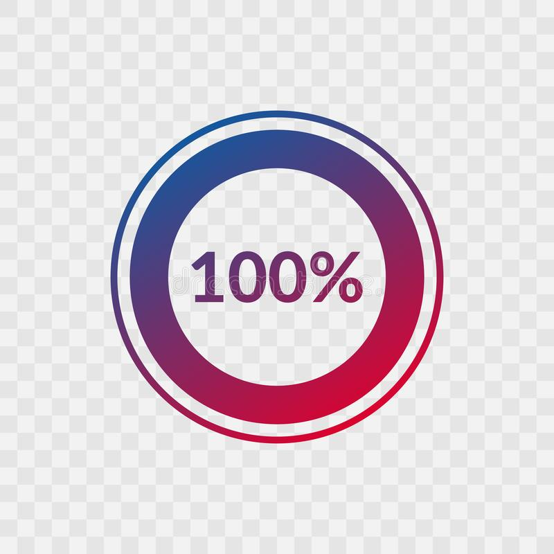 100 percent blue and red gradient pie chart sign. Percentage vector infographic symbol. Hundred circle icon isolated. On transparent background, illustration vector illustration