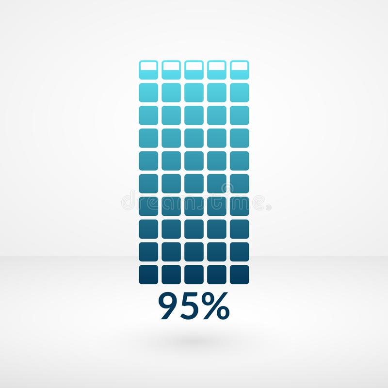 95 percent chart isolated symbol. Percentage vector element. Infographic diagram sign. Business illustration, icon for web. 95 percent square chart isolated stock illustration