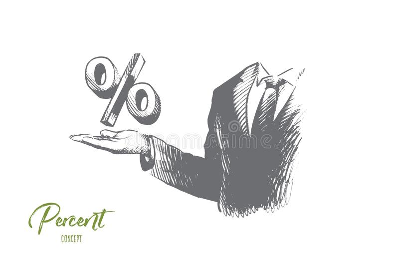 Percent concept. Hand drawn isolated vector. royalty free illustration