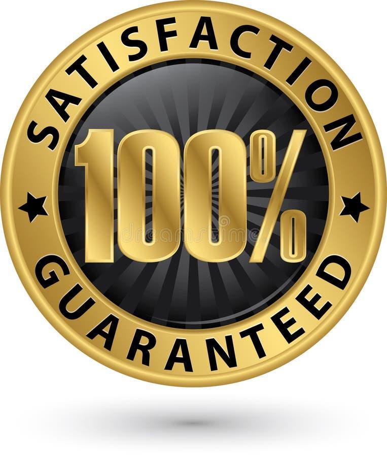 100 percent customer satisfaction guaranteed golden sign with ri. Bbon, vector royalty free illustration