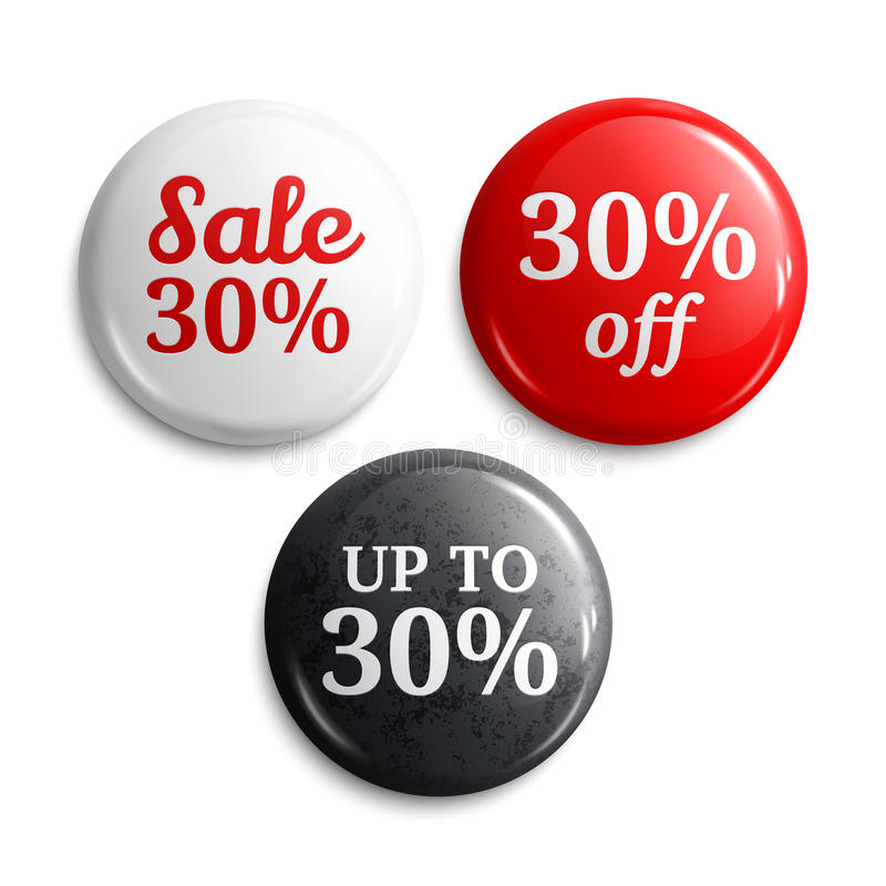 30 percent discount on glossy buttons or badges. Product promotions. Vector. stock illustration