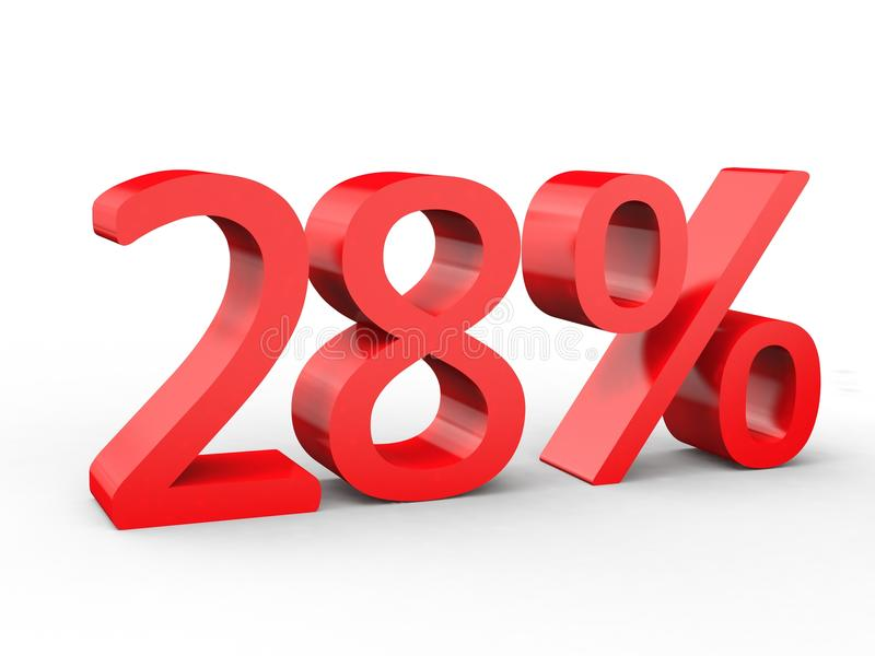 28 percent discount. Red 3d numbers on isolated white background royalty free illustration