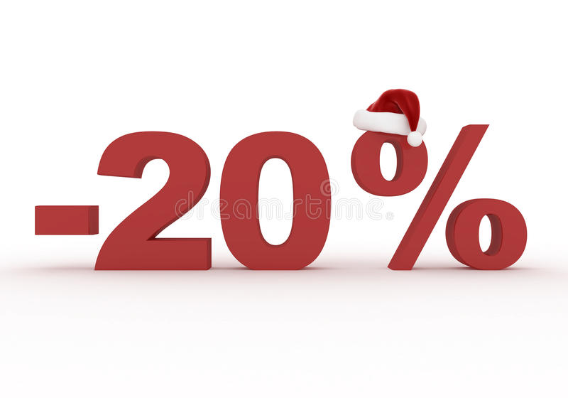 20 Percent discount sign in the hat of Santa Claus stock illustration