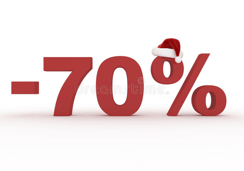 70 Percent discount sign in the hat of Santa Claus stock illustration